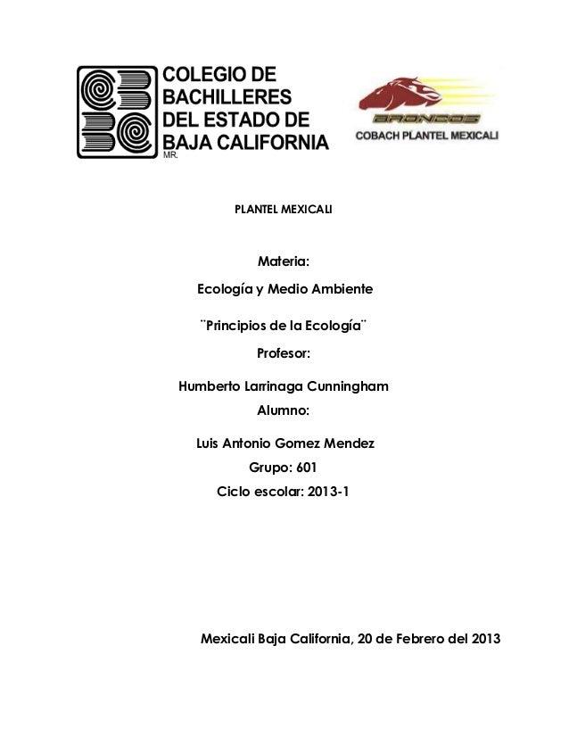 PLANTEL MEXICALI            Materia:  Ecología y Medio Ambiente  ¨Principios de la Ecología¨           Profesor:Humberto L...
