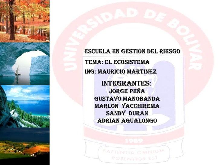 ESCUELA EN GESTION DEL RIESGO TEMA: EL ECOSISTEMA ING: MAURICIO MARTINEZ INTEGRANTES:  JORGE PEÑA GUSTAVO MANOBANDA MARLON...