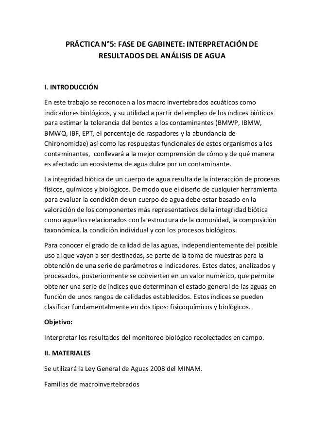 PRÁCTICA N°5: FASE DE GABINETE: INTERPRETACIÓN DE RESULTADOS DEL ANÁLISIS DE AGUA I. INTRODUCCIÓN En este trabajo se recon...