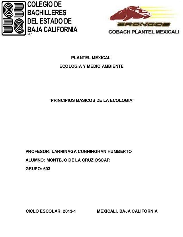 """PLANTEL MEXICALI              ECOLOGIA Y MEDIO AMBIENTE         """"PRINCIPIOS BASICOS DE LA ECOLOGIA""""PROFESOR: LARRINAGA CUN..."""
