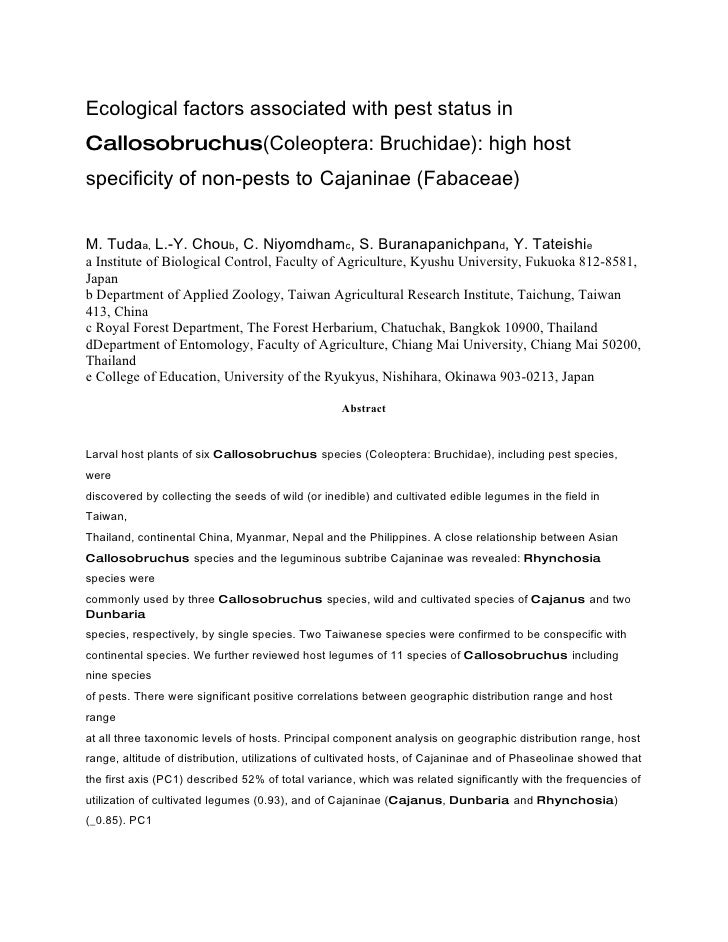 Ecological factors associated with pest status in Callosobruchus(Coleoptera: Bruchidae): high host specificity of non-pest...