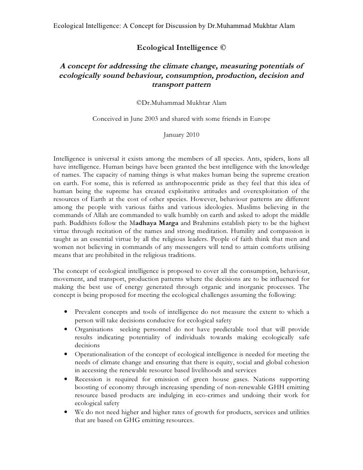 Ecological Intelligence: A Concept for Discussion by Dr.Muhammad Mukhtar Alam                                 Ecological I...