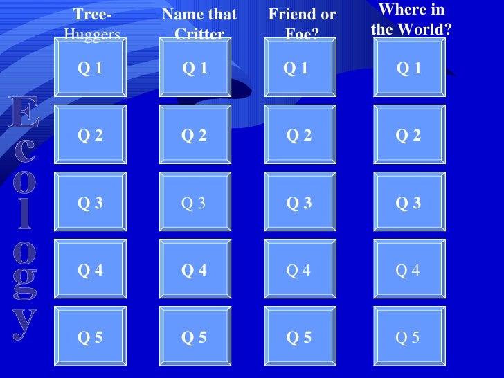 Tree-    Name that   Friend or    Where in           Huggers    Critter      Foe?      the World?            Q1         Q1...