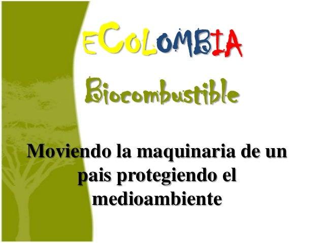 ECOLOMBIA     BiocombustibleMoviendo la maquinaria de un     pais protegiendo el      medioambiente