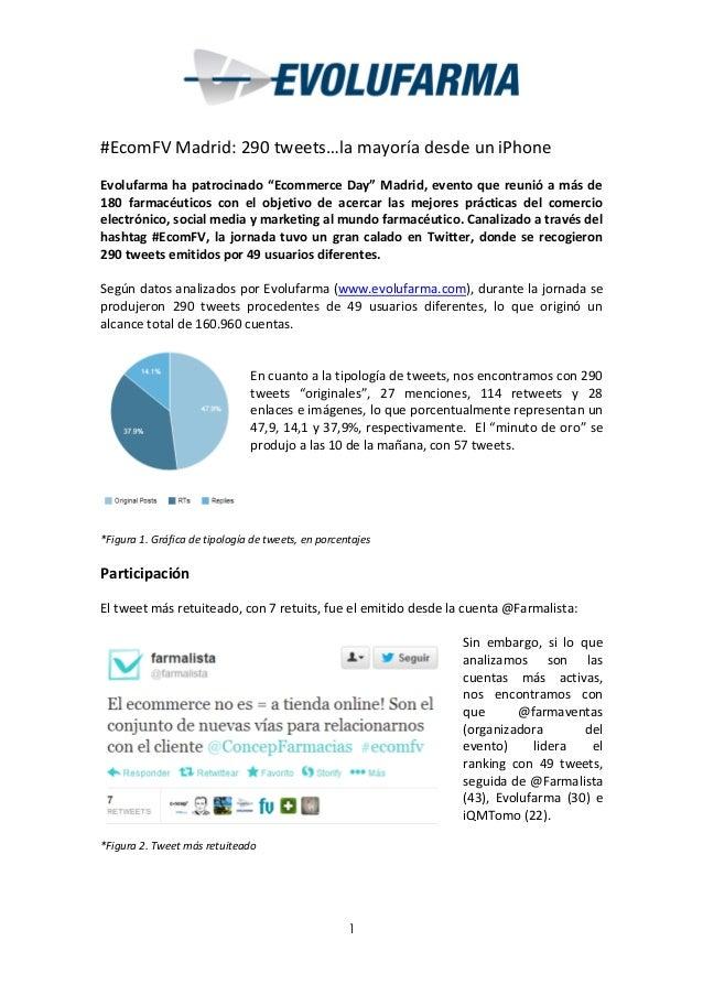 """#EcomFV Madrid: 290 tweets…la mayoría desde un iPhone Evolufarma ha patrocinado """"Ecommerce Day"""" Madrid, evento que reunió ..."""