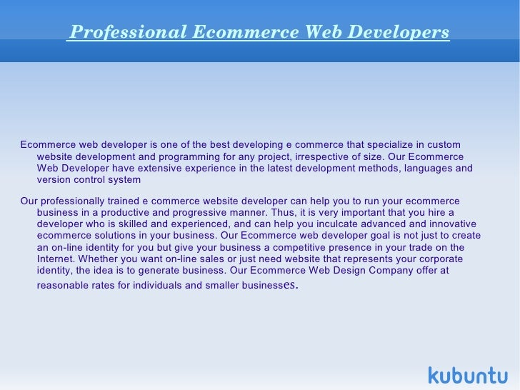 Ecommerce Web developers
