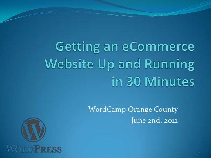 Getting an eCommerce Site Running in 30 Minutes