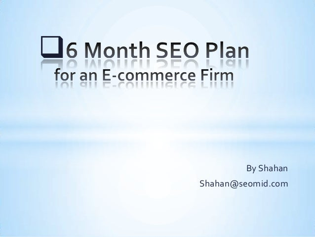 6 Months SEO Plan for an ecommerce firm