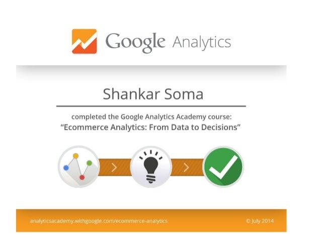 Google eCommerce Analytics Certified