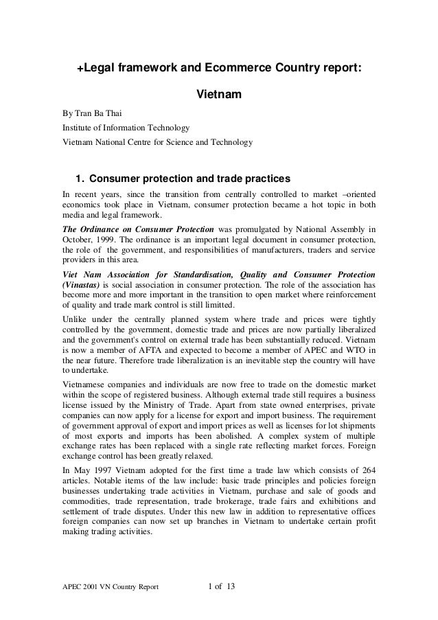 +Legal framework and Ecommerce Country report:                                      VietnamBy Tran Ba ThaiInstitute of Inf...