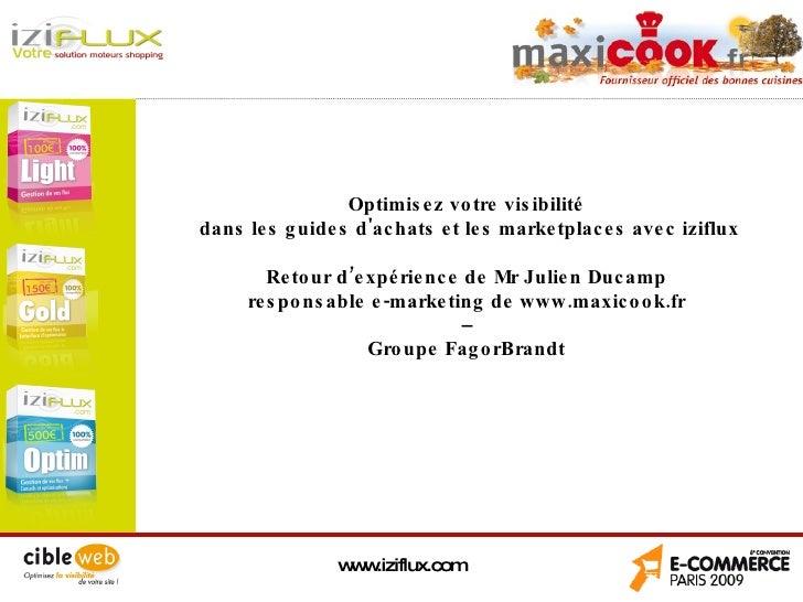 Référencement vos produits avec iziflux : maxicook.fr groupe FagorBrandt