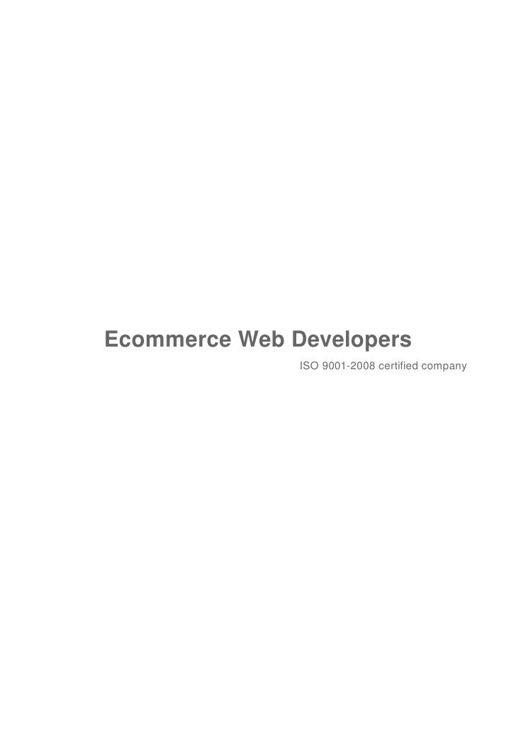 Ecommerce Web Developers               ISO 9001-2008 certified company