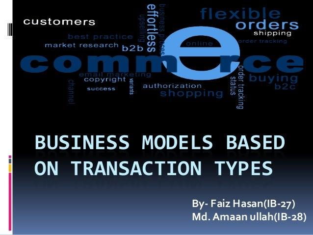 BUSINESS MODELS BASED ON TRANSACTION TYPES By- Faiz Hasan(IB-27) Md. Amaan ullah(IB-28)
