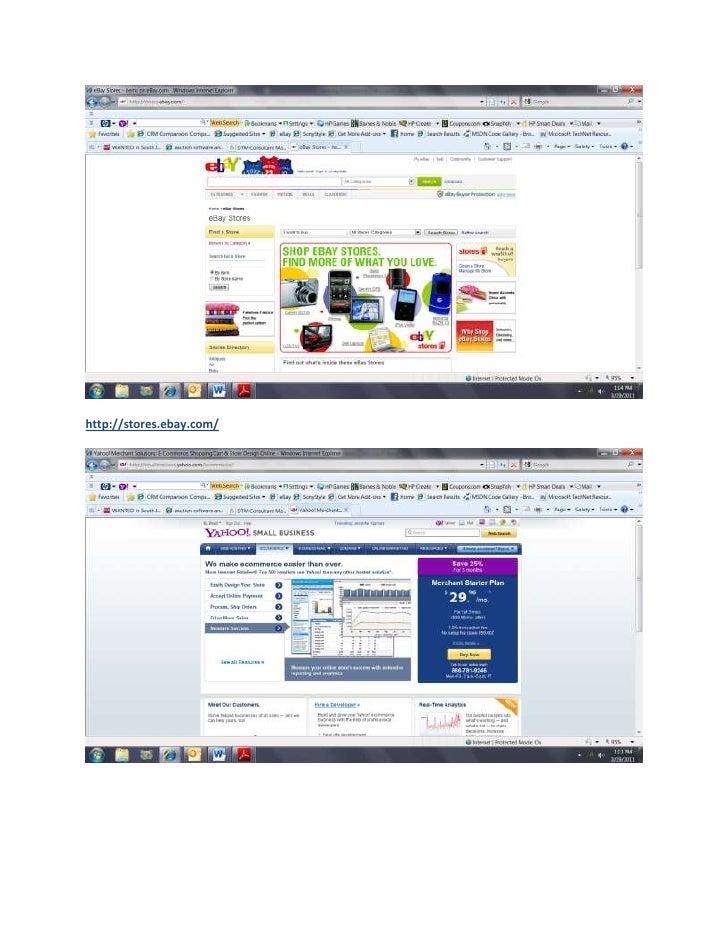 Ecommerce screen shots