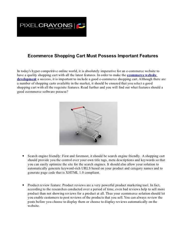 Ecommerce shopping cart must possess important features