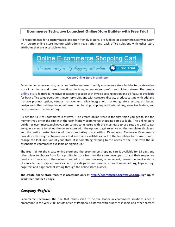 Ecommerce techwave launched online store builder with free trial