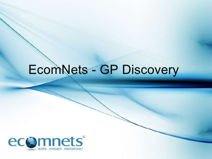 EcomNets - GP Discovery