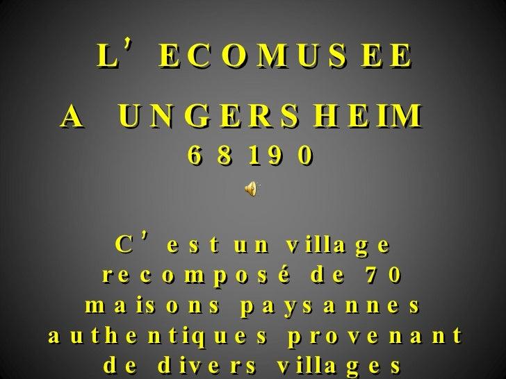 L'ECOMUSEE A  UNGERSHEIM   68190 C'est un village recomposé de 70 maisons paysannes authentiques provenant de divers villa...
