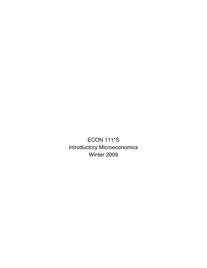 ECON 111*S Introductory Microeconomics         Winter 2009