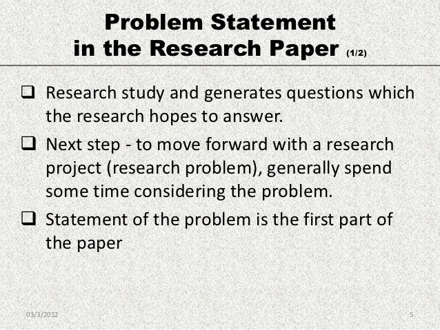 Research paper statement of the problem
