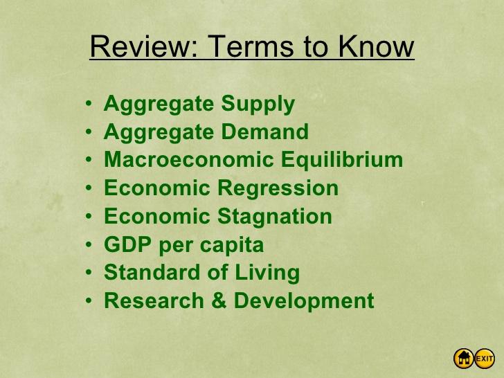 economics terms high school