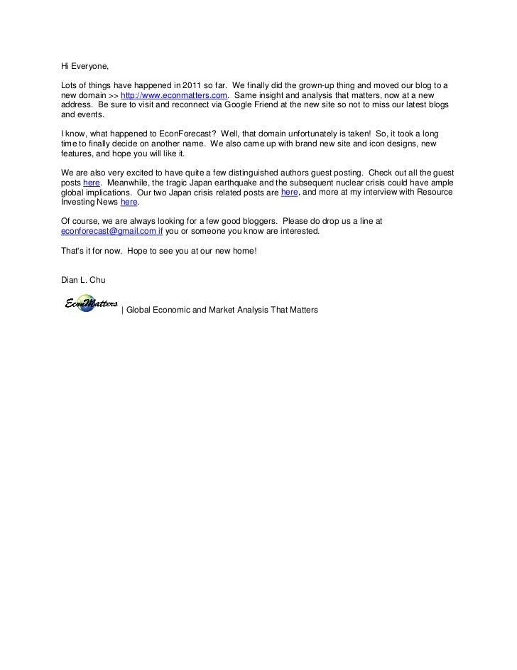 EconForecast newsletter Mar. 16, 2011