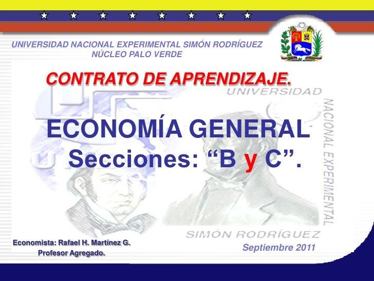 Economía general contrato de aprendizaje secc.  b y c  25 septiembre 2011