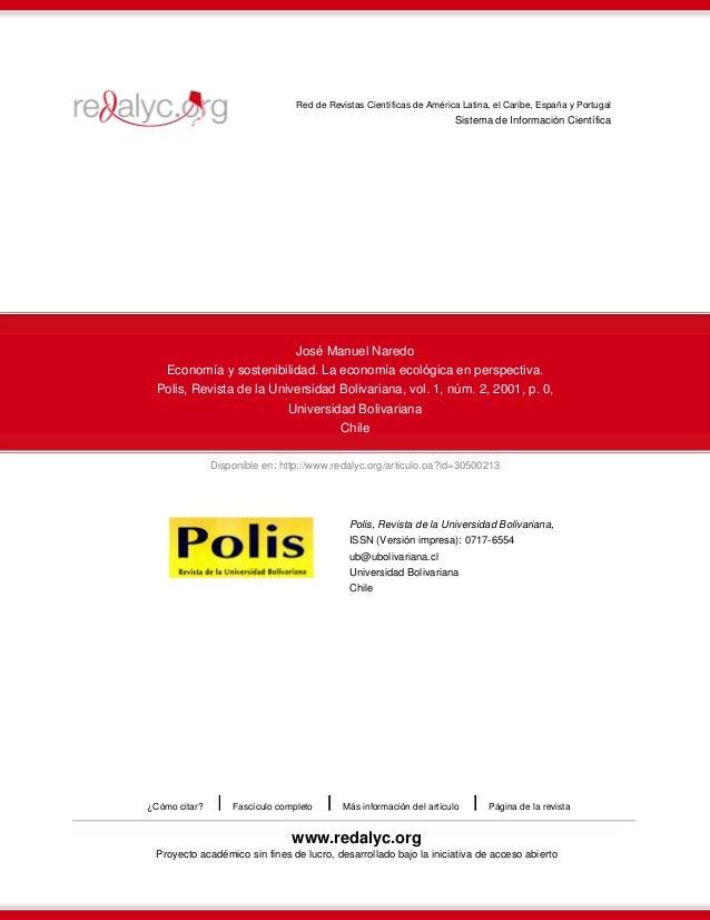 Red de Revistas Científicas de América Latina, el Caribe, España y Portugal  Sistema de Información Científica  José Manue...