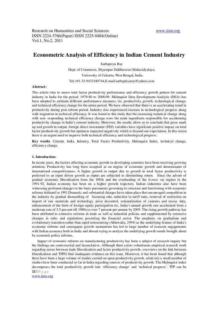 Econometric analysis of efficiency in indian cement industry