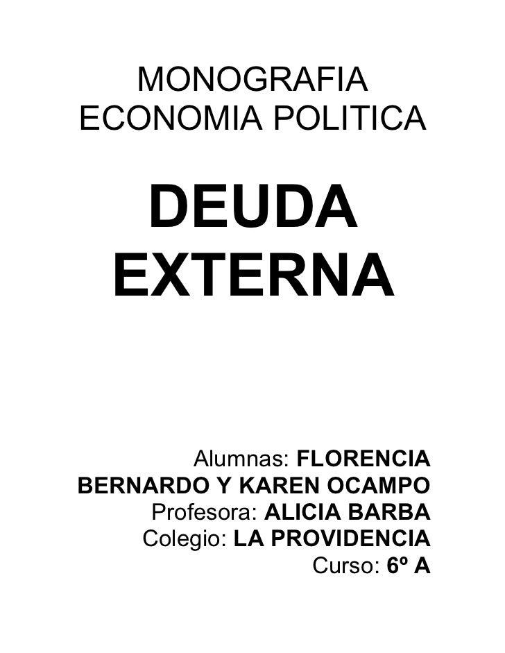 Economia, Monografía de la deuda externa