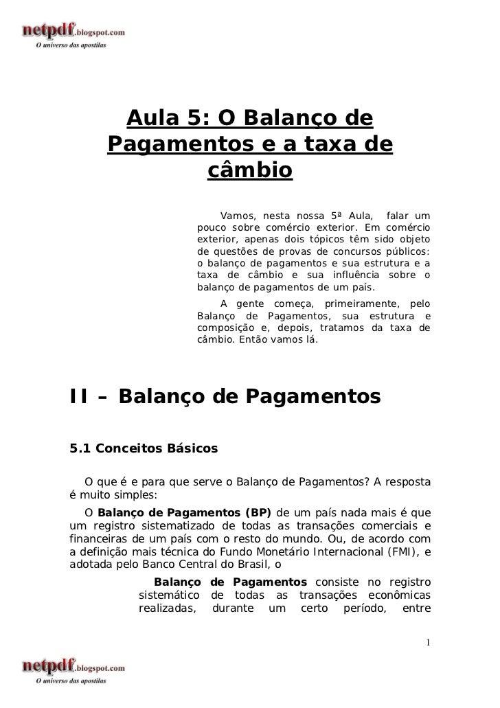 Economia   aula 5 - o balanço de pagamentos e a taxa de câmbio
