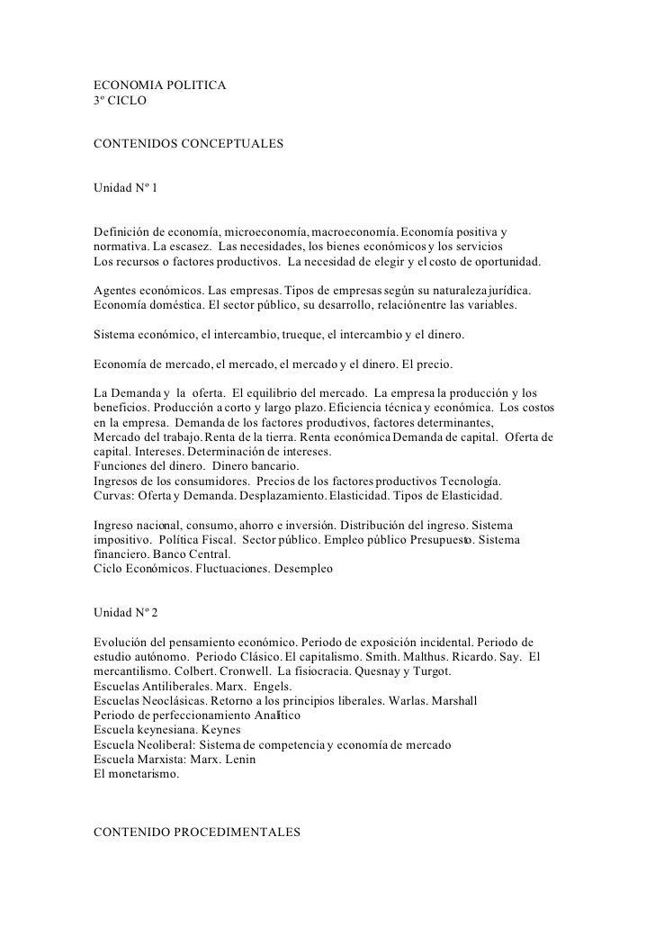 ECONOMIA POLITICA 3º CICLO   CONTENIDOS CONCEPTUALES   Unidad Nº 1   Definición de economía, microeconomía, macroeconomía....