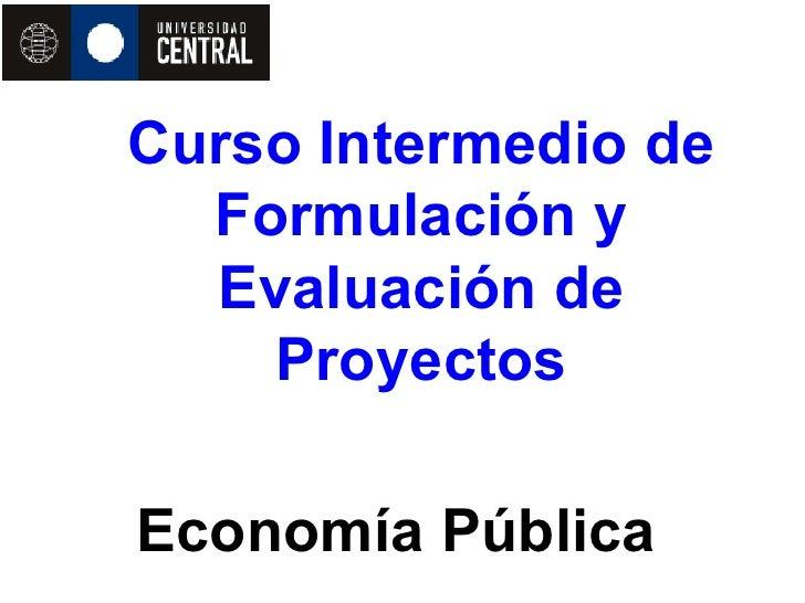 Curso Intermedio de   Formulación y   Evaluación de     Proyectos  Economía Pública