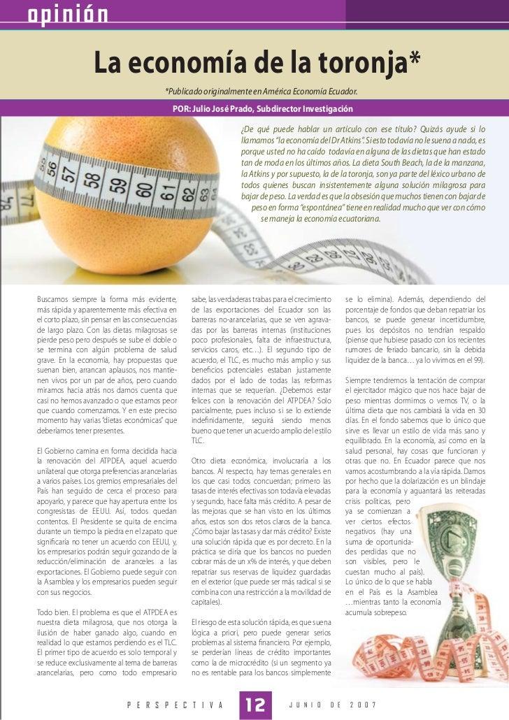 opinión                  La economía de la toronja*                                           *Publicado originalmente en ...