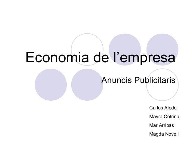 Economia de l'empresa          Anuncis Publicitaris                      Carlos Aledo                      Mayra Cotrina  ...