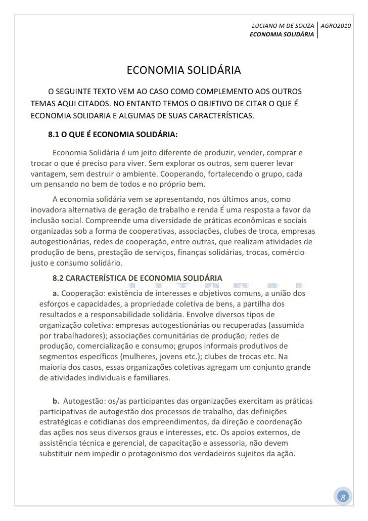 LUCIANO M DE SOUZA AGRO2010                                                             ECONOMIA SOLIDÁRIA                ...