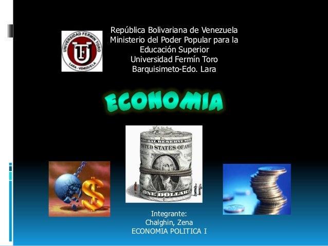 República Bolivariana de VenezuelaMinisterio del Poder Popular para la         Educación Superior      Universidad Fermín ...
