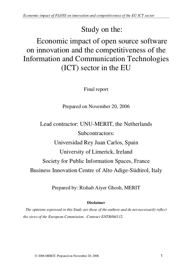 Economic impact of FLOSS on innovation and competitiveness of the EU ICT sector                     Study on the:     Econ...