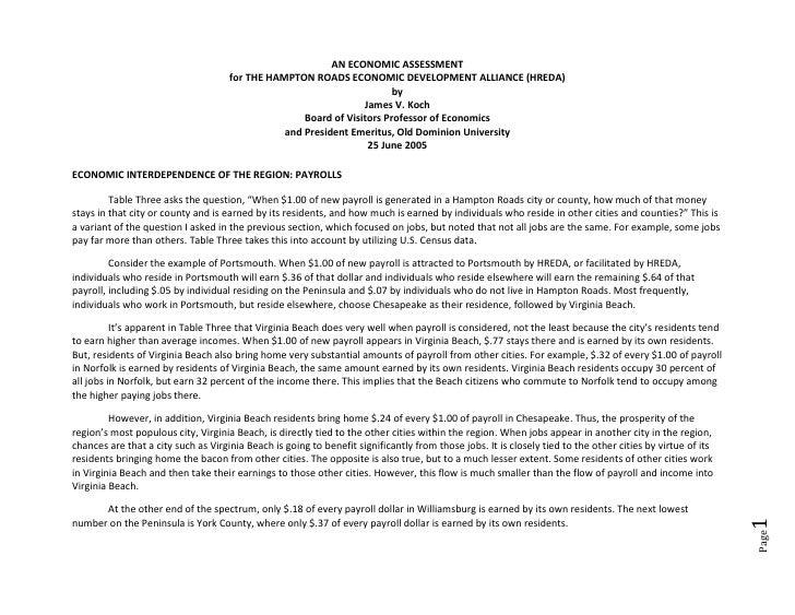 AN ECONOMIC ASSESSMENT                                      for THE HAMPTON ROADS ECONOMIC DEVELOPMENT ALLIANCE (HREDA)   ...