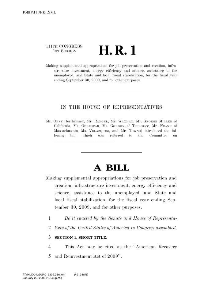 819 billion economic stimulus bill