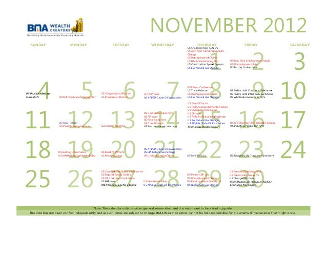 Economic calendar november 2012