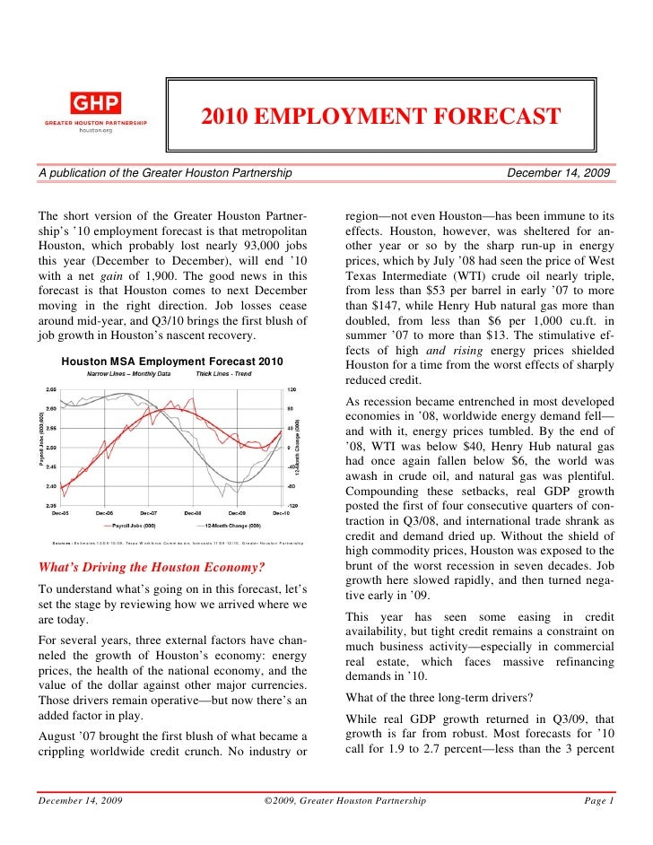 2010 EMPLOYMENT FORECAST  A publication of the Greater Houston Partnership                                                ...
