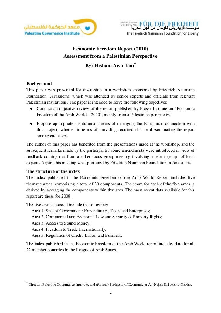 Economic Freedom Report (2010) Assessment from a Palestinian Perspective