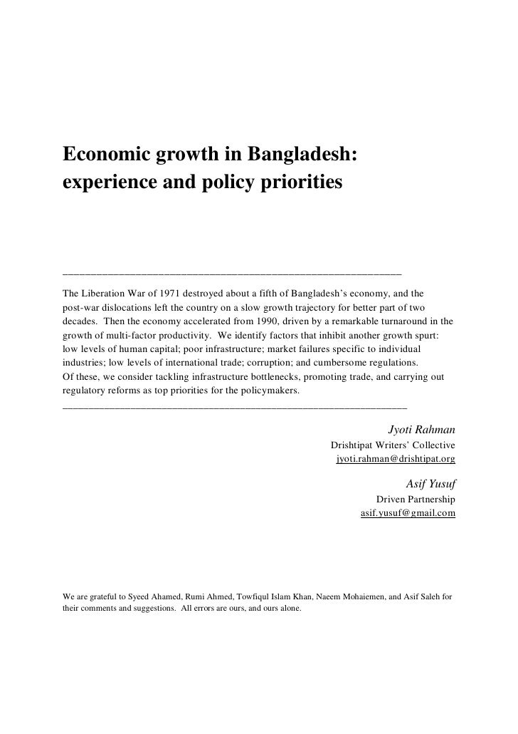 Economic growth in bangladesh   experience and policy priorities