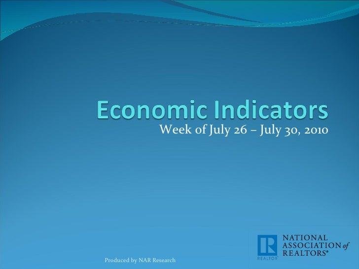 Economic Indicators for week of July 26-30