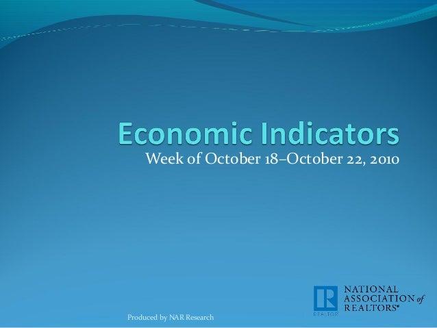 Economic Indicators for Week of October 18-22, 2010