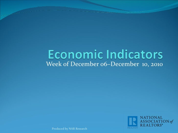 Economic Indicators for Week of December 06-12, 2010
