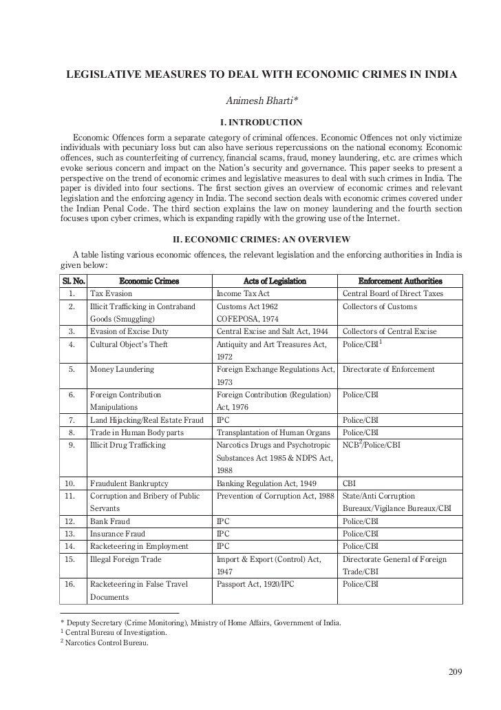 LEGISLATIVE MEASURES TO DEAL WITH ECONOMIC CRIMES IN INDIA                                                  Animesh Bharti...