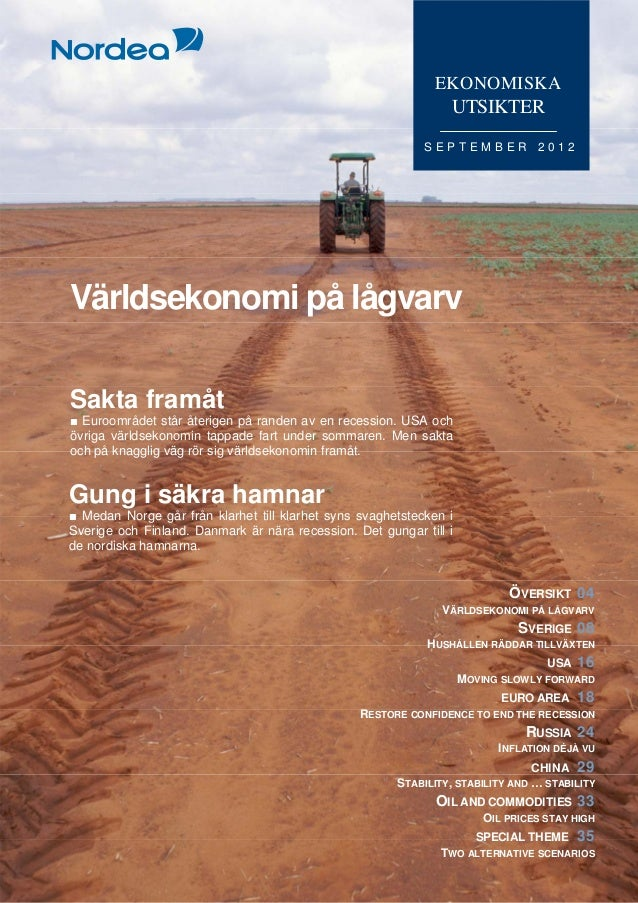 Ekonomiska Utsikter, Nordea Bank, september 2012