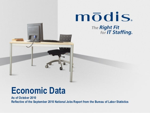 Economic Data As of October 2010 Reflective of the September 2010 National Jobs Report from the Bureau of Labor Statistics